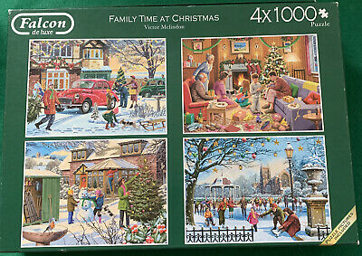 £9.90 • Buy 4 X 1000 Piece Jigsaw Puzzle Falcon De Luxe Family Time At Christmas Complete