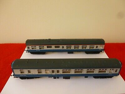 £10.99 • Buy 'oo' Gauge Hornby Two Unboxed Coaches In Blue & Grey Mark 1 & Mark 2