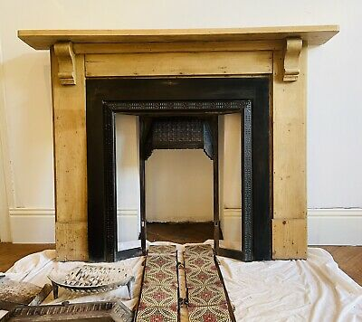 £101 • Buy Beautiful Victorian Style Tiled Cast Iron Fireplace & Grate With Wooden Surround