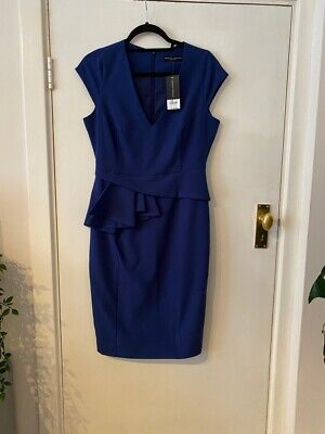 £12.99 • Buy Brand New With Tags Dorothy Perkins Blue V Neck Side Peplum Pencil Dress Size 12