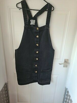 £6.50 • Buy  Denim Co, Black Pinafore Dress Size 20, With Pockets Front And Back