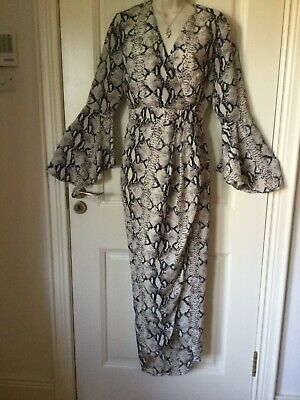 £9.99 • Buy New Stunning Girl In Mind Fluted Sleeve Wrap Maxi Dress High Low Hem Size 10