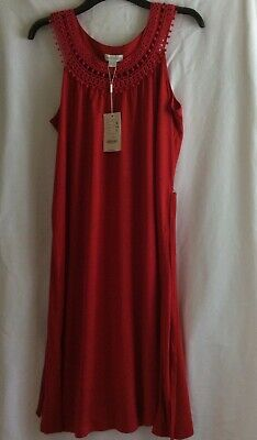 £7.99 • Buy Monsoon Red Sleeveless Dress With Lace Detail Neckline & Tie Belt - Size 16 BNWT