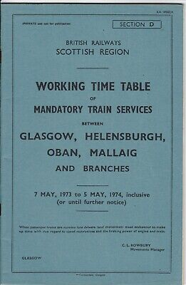 £5.99 • Buy 1973 Scottish Working Timetable Section D Glasgow Helensburgh Oban Mallaig