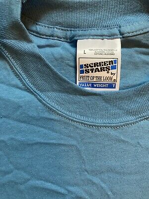 £6.99 • Buy Fruit Of The Loom Screen Stars Value Weight T Shirt, Size L, Light Sky Blue, NOS