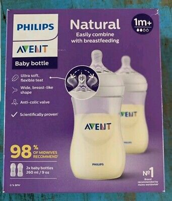 AU27.57 • Buy Philips Avent Natural Anti-Colic Bottles (2 X 260ml) 1m+ NEW
