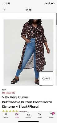 £3.40 • Buy V By Very Button Front Floral Kimono Size 16