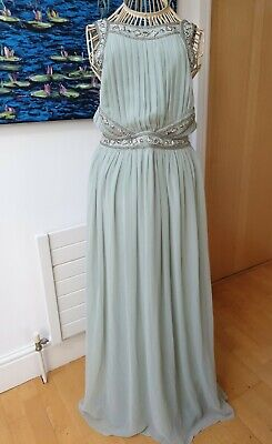 £28 • Buy Topshop Turquoise Pastel Green Sequin Maxi Dress Beaded Bridesmaid Prom Size 10