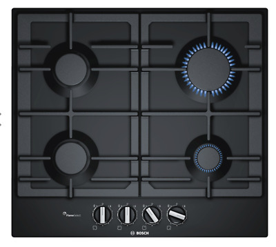 £149.99 • Buy Bosch PCP6A6B90 60cm Flame Select Gas Hob, BLACK - LONDON COLLECTION ONLY