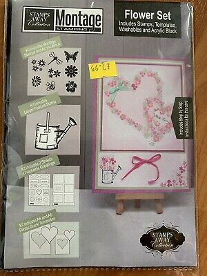 £2.99 • Buy Stamps Away Flower SET Clear Stamp Set - Montage Stamping