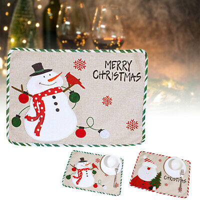 AU13.95 • Buy Christmas Placemats Washable Table Mats Christmas Dining Kitchen Decorations