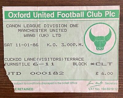 £0.40 • Buy Oxford V Manchester United Ticket Stub + Programme 11th January 1986 Division 1