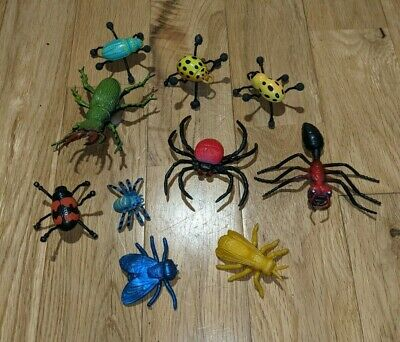 £2 • Buy 10 X Plastic Insects Toys - Bugs, Moth, Beetle, Spider, Ant - Nature Wildlife