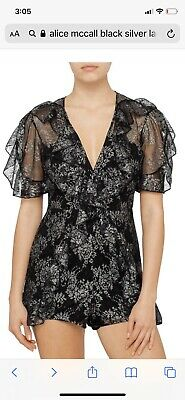 AU75 • Buy Alice Mccall Black/silver Lace Playsuit 8