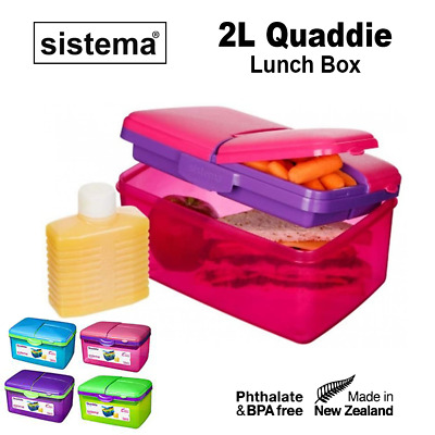 AU14.99 • Buy Sistema ® 2L Slimline Quaddie Lunch Box Food Stack Treats Compartment Container