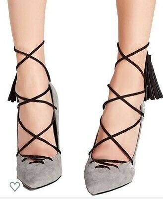 £10 • Buy Missguided Lace Up Contrast Tassel Court Shoes Heels Grey UK 8
