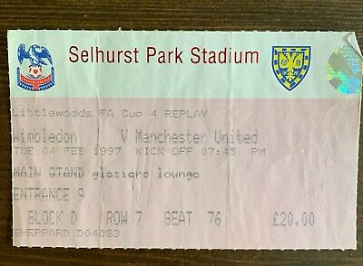 £0.40 • Buy Wimbledon V Manchester United Ticket Stub + Programme FA Cup February 1997