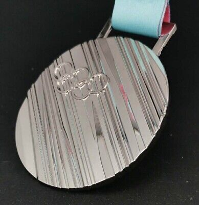 £29.99 • Buy Most Selling 2018 Pyeongchang  Olympic 'Silver' Medal+ Ribbon 1:1 Heavy Size