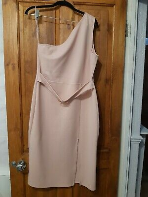 £4 • Buy River Island One Shoulder Body Con Pink Dress Size I6 Lables Cut Out Worn Once
