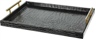 £23.99 • Buy Large Black Serving Tray With Gold Handle Faux Leather Trinket Perfume Organiser