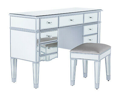 £619 • Buy Silver Mirrored Dressing Table Set With Stool