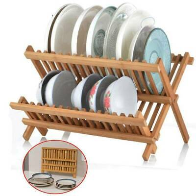 £24.99 • Buy Bamboo Wood Foldable Kitchen Dish Drainer Folding Wooden Plate Cups Drying Rack