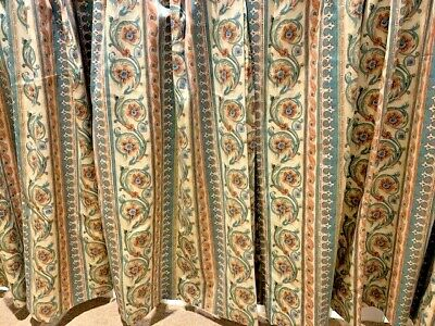 £30 • Buy Bargain-Pale Green/Peach/Cream Lined Curtains- 37.5in(w)x44.5in(l)-Bespoke Made