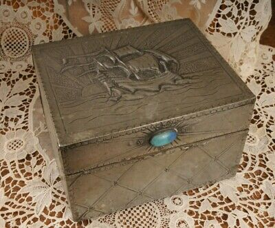 £68 • Buy Antique Arts And Crafts Pewter Box Galleon & Cabochon Detail Vintage Jewellery