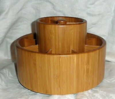 AU33.38 • Buy Pampered Chef Bamboo Rotating Utensil Caddy Never Used