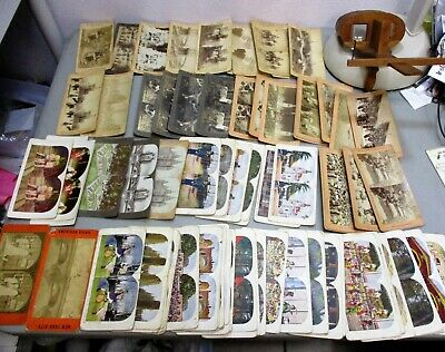 £108.91 • Buy Antique 92 Stereoscope Cards & 1915 Wood Stereo Viewer Stereoscopic Pan American