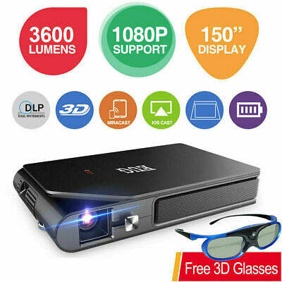 £355.99 • Buy Travel Size 3600lms WiFi Full HD DLP Projector Airplay For IPhone 3D Home Movie