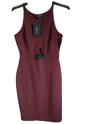 £3.90 • Buy Basik Size 10 Burgundy Sleeveless Cut Out Body Con Dress New With Tags