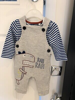£5 • Buy Baby Boy Debenhams Blue Zoo Dinosaur Dungaree Outfit Age 3 To 6 Months VGC