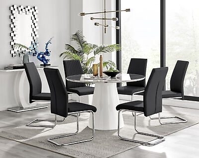 £334.99 • Buy Palma Elegant White Marble-Effect Round Dining Table 6 Modern Contemporary Chair