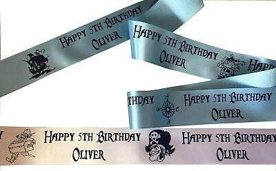 £3.25 • Buy 45mm Width Pirate Theme PERSONALISED RIBBON For Birthday Cakes Gifts Decorations