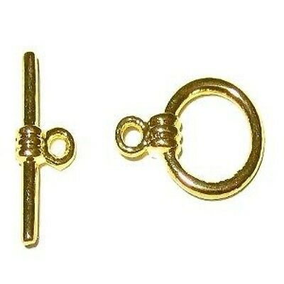 £2.49 • Buy BUY 3 GET 3 FREE 10 Sets 10x15mm Plated Metal Gold Round Toggle Clasps - A6514