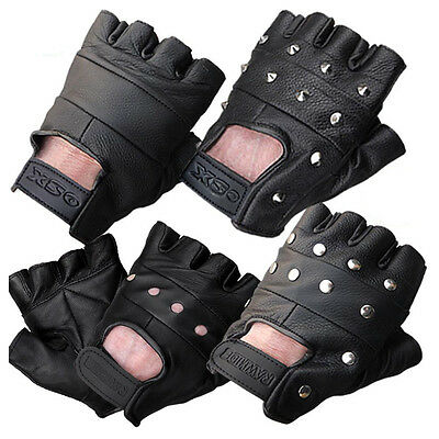 £3.99 • Buy Leather Fingerless Gloves Biker Driving Cycling Wheelchair Gym Padded Rawhide