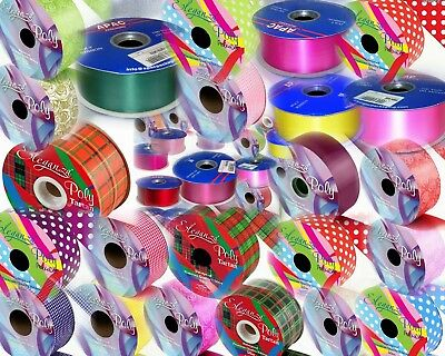 Full Roll, Choice Of 65 Colours, 2  Florist Ribbon 91m & 50m, Wedding Car, Party • 7.50£