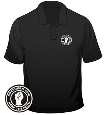 Northern Soul Mens Polo Badge Keep The Faith Regular Fit Cotton T-Shirt  • 9.99£