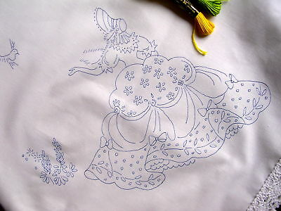 Tablecloth To Embroider  Crinoline Lady Lace Edge Cotton Print Embroidery CSOOO4 • 18£