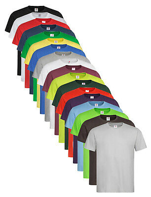Mens Plain Cotton BROWN BLUE GREEN BURGUNDY RED GREY YELLOW ORANGE Tee T-Shirt • 5.99£
