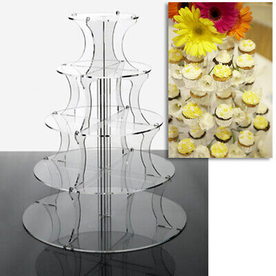£26 • Buy Cupcake Stand 5 Tier - ROUND CLEAR Perspex Tower For Weddings And Party Displays