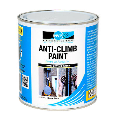 Anti Climb Security Paint (Anti Vandal & Intruder) -1ltr Black • 18.95£