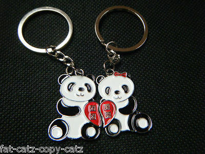 £2.95 • Buy 2x LOVERS COUPLES CUTE MALE & FEMALE PANDAS ENDANGERED ANIMALS LOVE YOU KEYRINGS