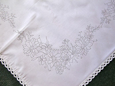 Printed Tablecloth To Embroider With Lace Edge Bouquet Flowers Cotton CSOO47 • 18£