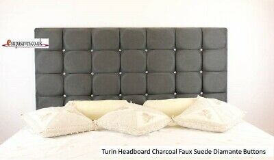 Turin Bed Headboard Faux Suede  All Sizes Available Diamante Buttons Esupasaver • 65£