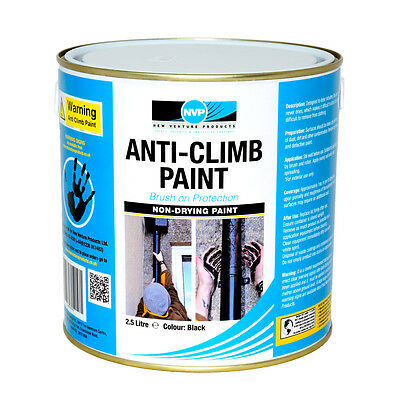 Anti Climb Paint (Anti Vandal)  2.5 Litre (2.9kg) Black, Red, Grey Or Green • 29.95£