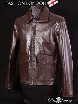 INDIANA JONES Brown Men's INDY US Military Army Real Cowhide Leather Jacket • 109.99£