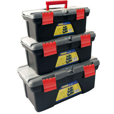 3pc Plastic Tool Box Chest Set Handle Tray & Compartment Diy Storage Toolbox Bag • 12.95£