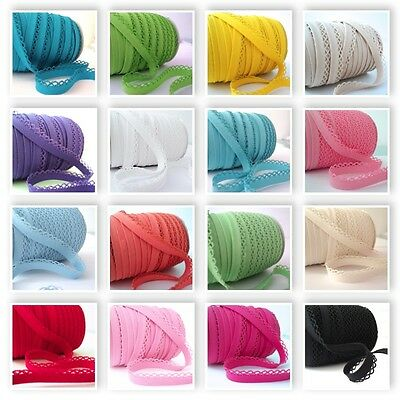 ALL COLOURS - PLAIN PICOT LACE CROCHET EDGE BIAS BINDING Ribbon Trim Folded  • 18.99£